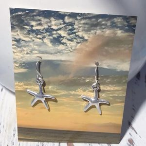 SILVER DANGLE STARFISH EARRINGS